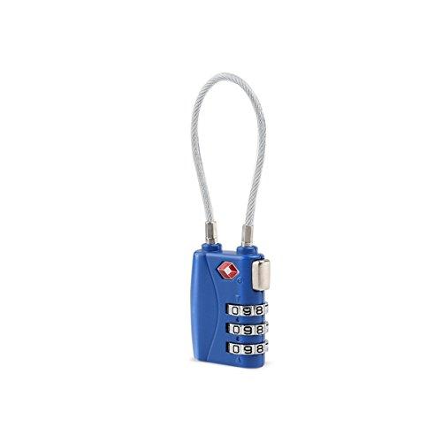 Tinksky Gepäck Sperren TSA genehmigt Sperren Sicherheit Kabel 3-Ziffern-Kombination Hangschloss Passwort sperren Vorhängeschlösser (blau)