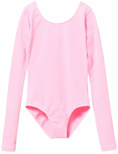 Mdnmd Girls' Classic Long Sleeve Leotard,Ballet Pink,Tag SIze 120 - US Size Age 4-6