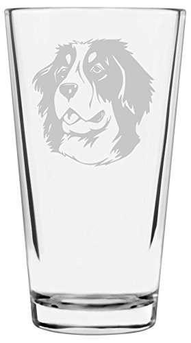 Bernese Mountain Dog Themed Etched All Purpose 16oz Libbey Pint -