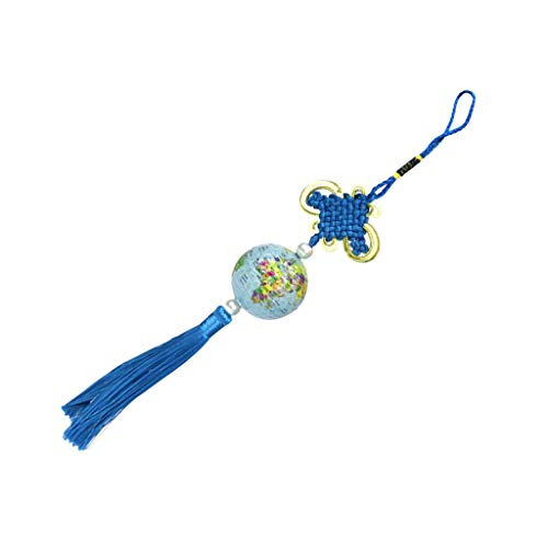 - Knot Pendant Tassels Hanging Ornament Decor with Animal Map Print Golf Ball   Color - Blue map