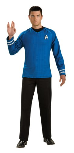 Rubie's Costume Star Trek Into The Darkness Grand Heritage Spock Shirt With Emblem, Blue/Black, Large (Star Trek Movie Blue Shirt Adult Costume)