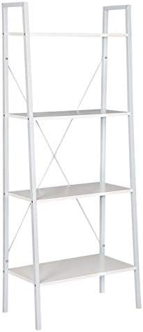 Woltu Estanter/ía Escalera Librer/ía Organizador Multifuncional con 4 Estantes para Sala de Estar Blanco RGB9283ws