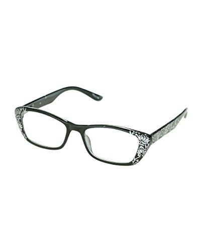 NYFASHION101 Floral Desgined Stone Stud Rectangular Reading Glasses - BK/SL, - Sl 1
