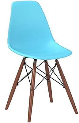 Poly and Bark Vortex Side Chair Walnut Legs, Set of 4