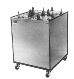 Mobile Lowerator Dispensers Two Tubes - APW Wyott Lowerator Enclosed Mobile Adjustube Two Tubes Unheated Plate Dispenser, 8 1/4 to 9 1/8 inch China Size -- 1 each.