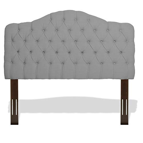 Leggett & Platt Martinique Button-Tuft Upholstered Headboard with Adjustable Height, Putty Finish, Full / Queen