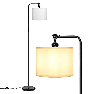 DEWENWILS 63 inch Black Floor Lamp with White Shade, Adjustable Lampshade, Tall Pole Standing Farmhouse Floor Lamp for Living Room, Bedroom, Office, Simple Style