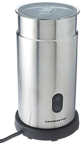 One Touch Milk Frother - Ovente FR1008S Electric Milk Frother and Warmer, Cordless, Hot/Cold with One Touch, Stainless Steel, BPA Free, 7 oz for Frothing • 14 oz for heating