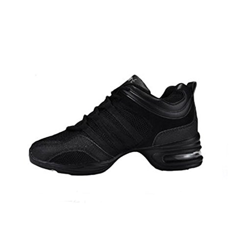 Split Yiblbox Dance Pour Noir Mesh Filles Lacets Womens Ballroom Sneakers Chaussures Jazz Formateurs Sole rrfEqxaA