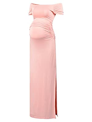 BlackCherry Women's Off Shoulder Short Sleeve Maternity Casual Maxi Dress