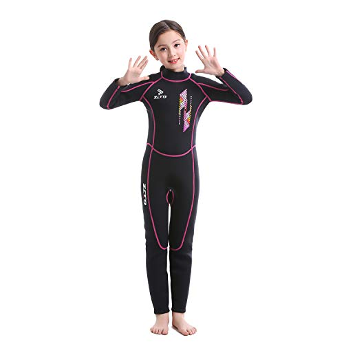 ZCCO Kids Wetsuits 2.5MM Premium Neoprene for Boys Girls Warmth Long Sleeve UV Protection Back Zip Youth Diving Suit Swimsuit (Pink, L)