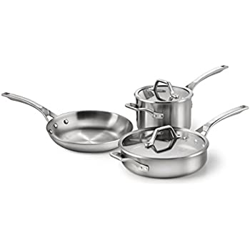 Calphalon 1857125 5-Piece Stainless Steel AccuCore Cookware Set, Medium, Metallic