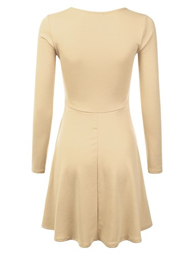 Skater Awdsd0662 Stretchy Plus in Available Knit Size Doublju taupe Flared Dress Made USA RgWURq6F
