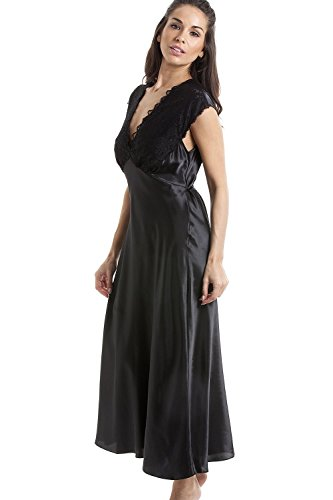 newest collection e17fb d0ce8 Camille Damen Nachthemd aus edlem Satin mit Spitze - lang - schwarz