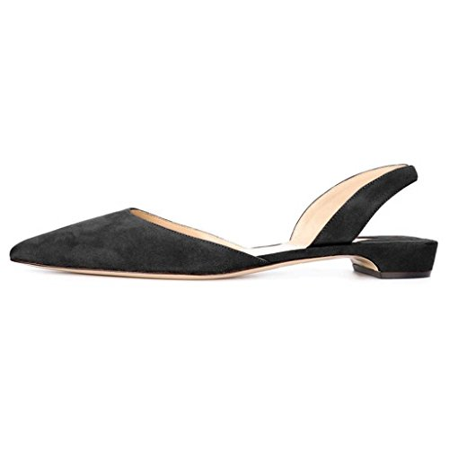 FSJ Women Comfy Slingback Ankle Strap Low Heels Shoes Pointed Toe D'Orsay Pumps Size 4-15 US Black buy cheap buy cheap price clearance manchester great sale discount many kinds of 5XhuM