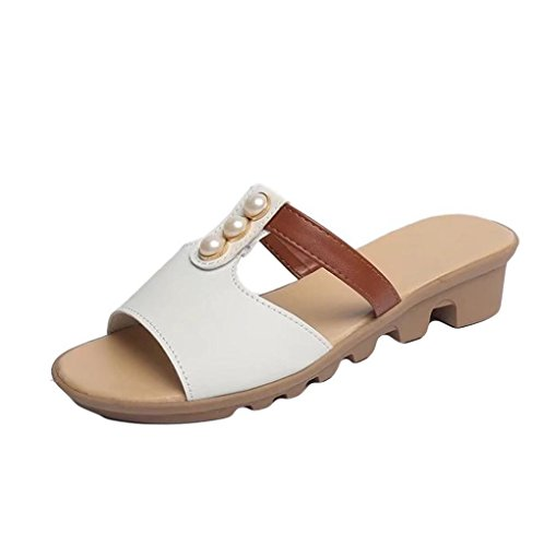 Muium Women Fashion Sandals, Ladies Cut Out Pearl Wedge Sandals Casual Poe Toe Roma Shoes White