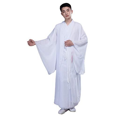 Ez-sofei Men's Ancient Chinese Traditional Costume Hanfu Dress Long Robe Coat (S(150cm), D-White) ()