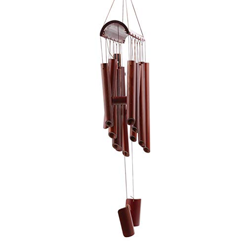 Michigan Outdoor Pendant - Rustic Bamboo 8 Tube Coconut Husk Pendant Church Bell Yard Garden Outdoor Home Living Wind Chime Handmade Windchime,Large Size