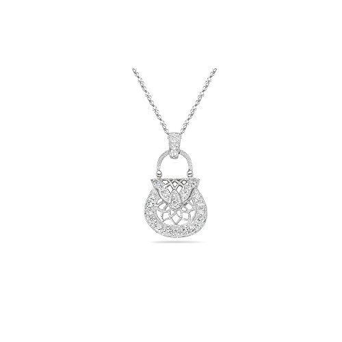 - 0.10-0.15 Cts SI2 - I1 clarity and H-I color Diamond Purse Pendant in 18K White Gold