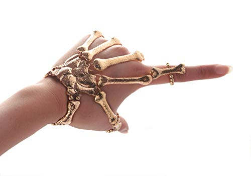 Deniferymakeup Exaggerate Metal Skeleton Bracelet Halloween Accessories Ghost Claw Ornaments Gothic Finger Skeleton Bracelet Flexible to Wear for Your Halloween Cosplay Costume (Gold)