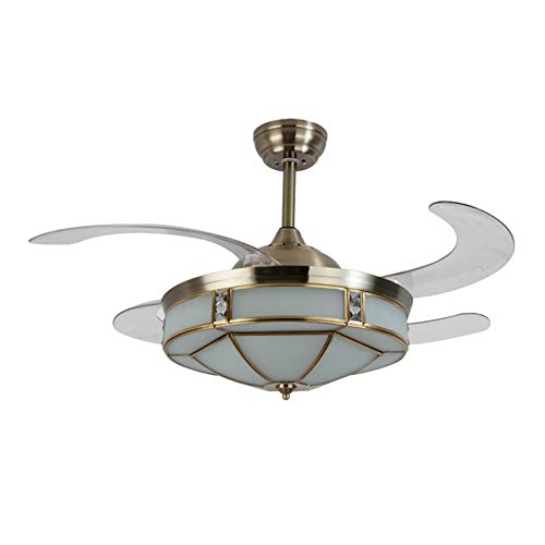 (NAF 42 inch Invisible Ceiling Fan Light,Retractable Transparent Blade with Remote Control,European Bronze Glass Chandelier Dimmable)
