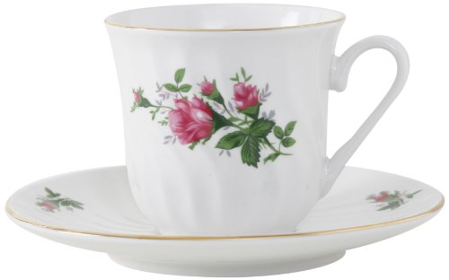 Ciera Vintage Rose Porcelain Tea Cup and Saucer with Gold Trim, Set of 6; Vintage Floral ()