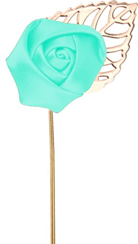 Flairs New York Gentleman's Essentials Premium Handmade Flower Lapel Pin Boutonniere (Pack of 1 Pin, Mint Green [Small Rose Gold Leaf])