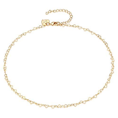 Gold Heart Ankle Bracelet - Gold Anklet Women,14K Gold Plated Heart Cute Summer Ankle Bracelet Boho Beach Foot Chain