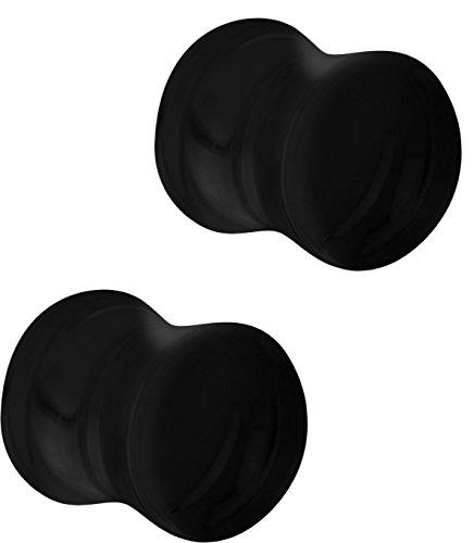 Set of 00G Black Acrylic Ear Gauges, 00 Gauge 10mm Solid Double Flared Saddle Plug Earrings