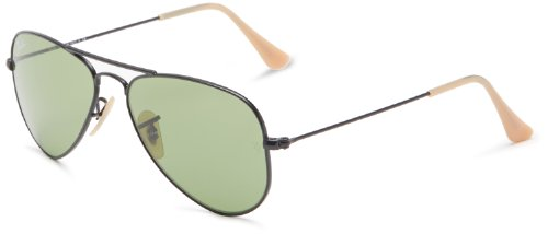 Ray-Ban AVIATOR SMALL METAL - MATTE BLACK Frame LIGHT GREEN Lenses 52mm - Aviator Size 52 Ban Ray