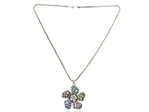 Pastel Crystal Petals (Pastel Color Petals Filigree Crystal Petunia Flower Floral Cute Pendant Necklace)