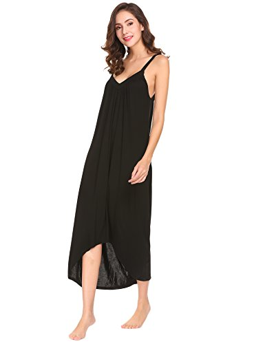 Ekouaer Womens Sleeveless Long Nightgown Summer Slip Night Dress Cotton Sleepshirt Chemise, A-black 6696, Medium