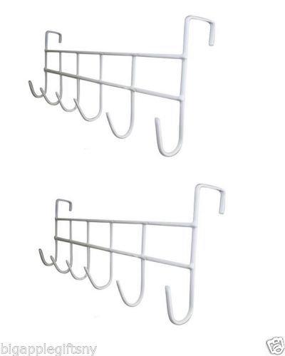 2 PCS White Over The Door Home Bathroom Coat Towel Hanger Rack 6 Hooks from vegan