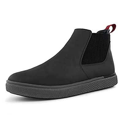 Hawkwell Men's Casual Comfortable Slip-on Ankle Chelsea Boots, Black PU, 7 M US