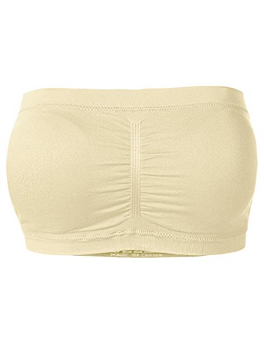 Padded Bra Tube Top (TL Women's Padded Bandeau Tube Top Bra Offered in One Size and Plus Sizes SINGLE_TAUPE OS)