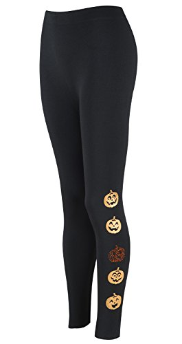 Eliacher Women's Casual Camouflage Printed Brushed Leggings Stretch Seamless Halloween Leggings (M/L, Halloween Pumpkin)