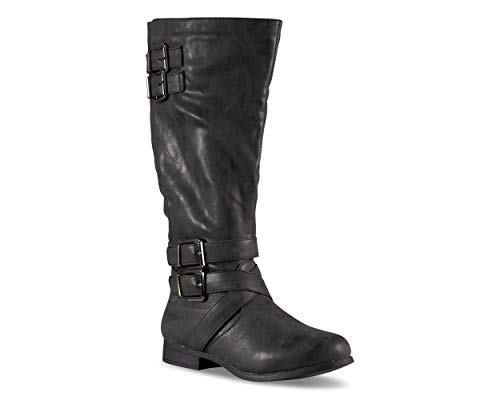 Twisted Women's Chloe Faux Leather Knee-High Wide Calf Boot - CHLOE108P Black, Size -