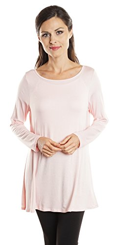 Free to Live Women's Long Flowy Elbow Sleeve Jersey Tunic Made in USA (XL, Rose_LS)