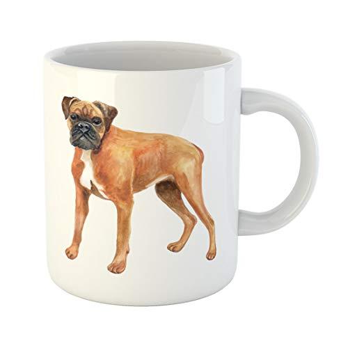 Semtomn Funny Coffee Mug Watercolor Closeup Portrait of German Boxer Deutscher Breed Dog 11 Oz Ceramic Coffee Mugs Tea Cup Best Gift Or -