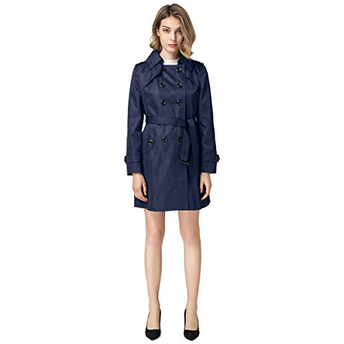 Blostirno Women's Notched Lapel Long Jacket Double Breasted Mid Length Trench Coat with Belt (Blue US Size-14 / Asian Size 4XL)