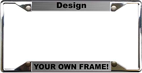 Custom Personalized 4 Hole Chrome Metal Car License Plate Frame with Free caps - Steel/Black
