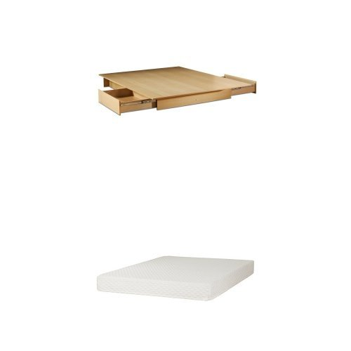 South Shore Step One Full/Queen Platform Bed (60'') with drawers, Natural Maple, and Somea Queen Mattress included