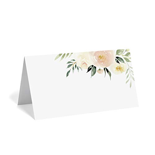 (Floral Place Cards for Wedding or Party, Seating Place Cards for Tables, 50 pack, scored for easy folding, Blush flower design 2 x 3.5 inches - from Bliss Collections)