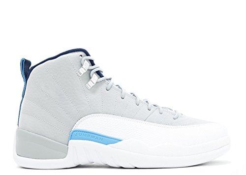 Jordan 12 Retro Mens Lupo Grigio / Blu Università / Bianco