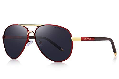 MERRY'S Men's Polarized Driving Sunglasses For Men Unbreakable Frame UV400 S8513 (Red&Black, 61) ()