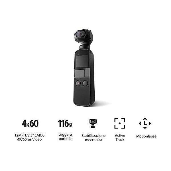 """DJI Osmo Pocket Prime Combo - Fotocamera Stabilizzata a Tre Assi con Kit Accessori e Care Refresh, Camera Integrata 12 MP 1/2.3"""" CMOS, Video in 4K, Collegabile a Smartphone, Android, iPhone - Black 4 spesavip"""