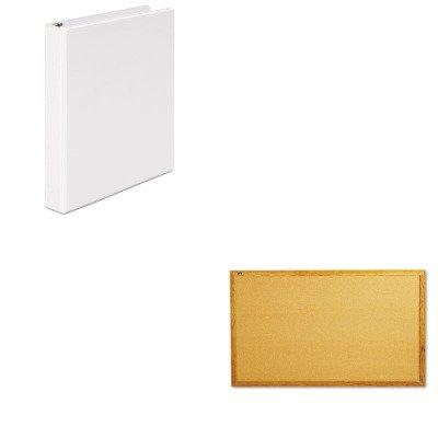 Quartet Economy Cork Board (KITQRT305UNV20962 - Value Kit - Quartet Bulletin Board (QRT305) and Universal Round Ring Economy Vinyl View Binder (UNV20962))