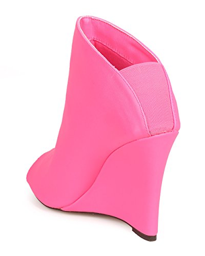 Miss L DG87 Women Leatherette Peep Toe Tailored Single Sole Wedge Bootie - Neon Pink OgQXHU4lg