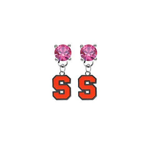 (Syracuse Orange Pink Crystal Stud Post Dangle Earrings)