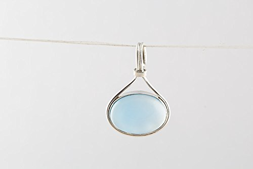 Attractive Stone - Aqua Chalcedony Pendant 925 Sterling Silver Eye Catching Attractive love Boho Stone Great Gift Gemstone Handmade Women Jewelry Gift For Her Oval Shape Unique Piece